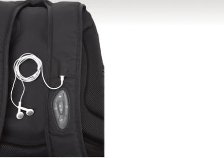 The BacPac Control notebook bag from Dicota has an iPod controller integrated into the shoulder strap