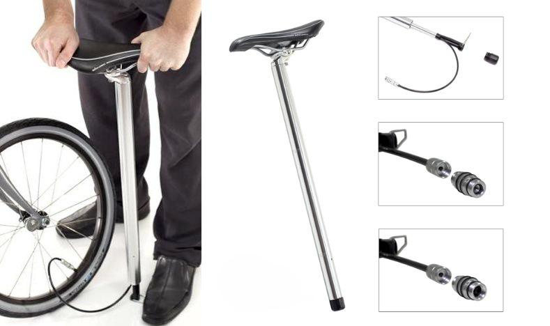The BioLogic PostPump 2.0 is a full floor pump integrated right into your bike