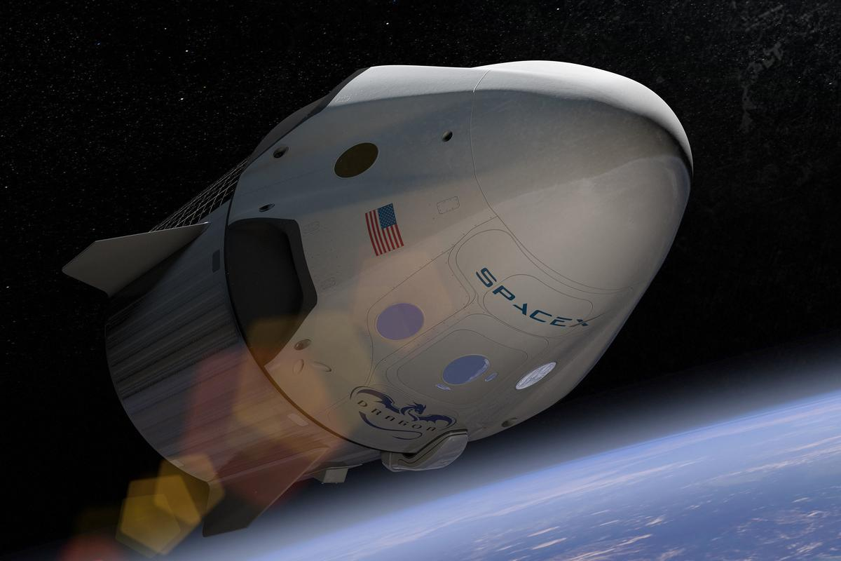 Artist's impression of the Crew Dragon, which will be used to carry paying passengers into orbit