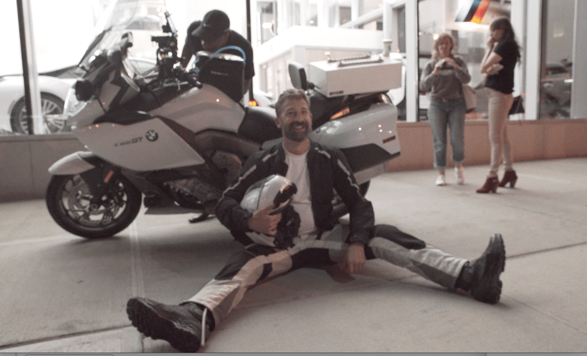 Carl Reese after completing the LA to New York solomotorcycle trip in a record time of 38 hours, 49 minutes.