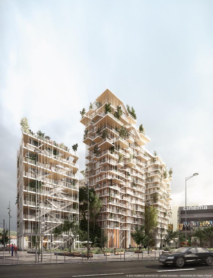 The cluster of timber buildings would rise to 50 m (164 ft) in height
