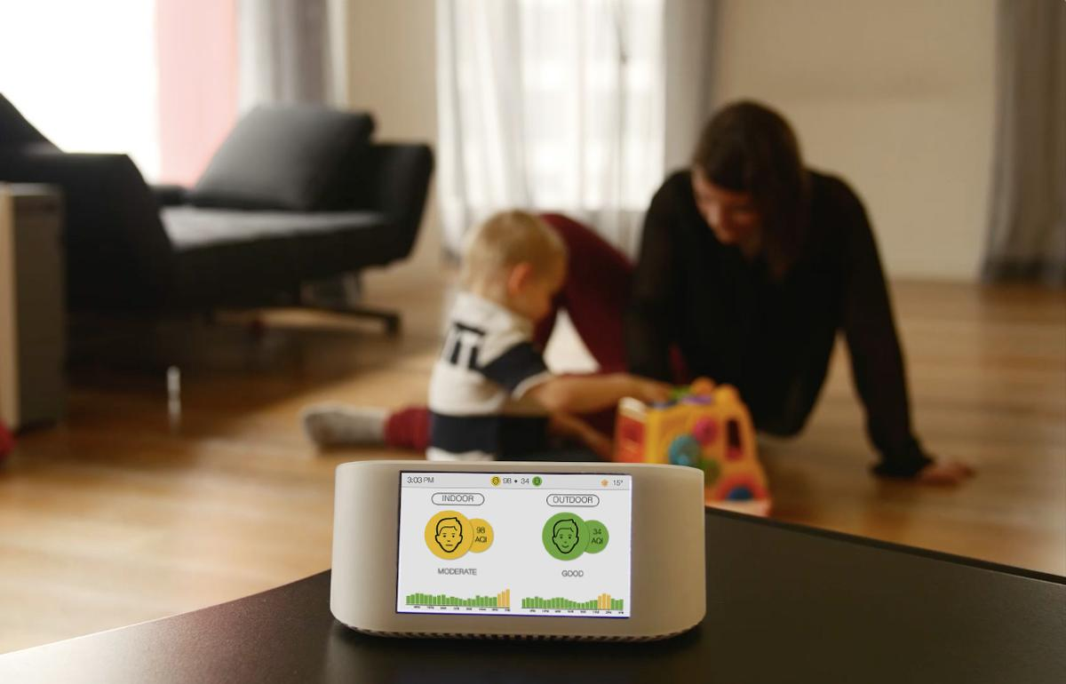 The AirVisual Node measures indoor and outdoor air quality, CO2 levels, temperature and humidity