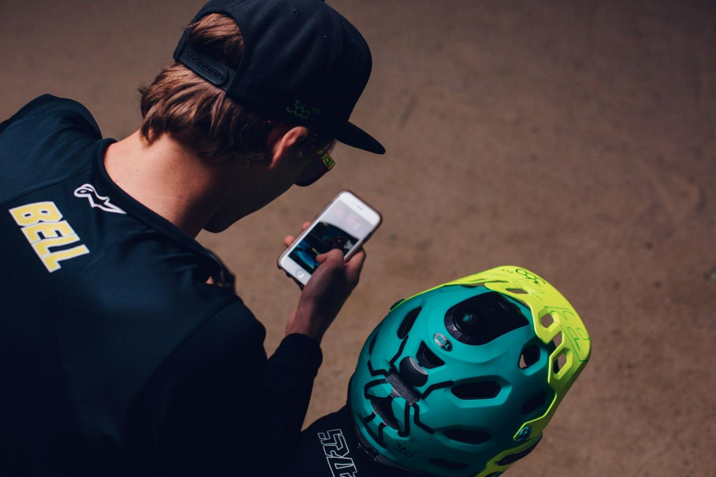 The BRG Sports Bell Moto 9 off road motorcycle helmet with integrated 360fly camera and mobile app