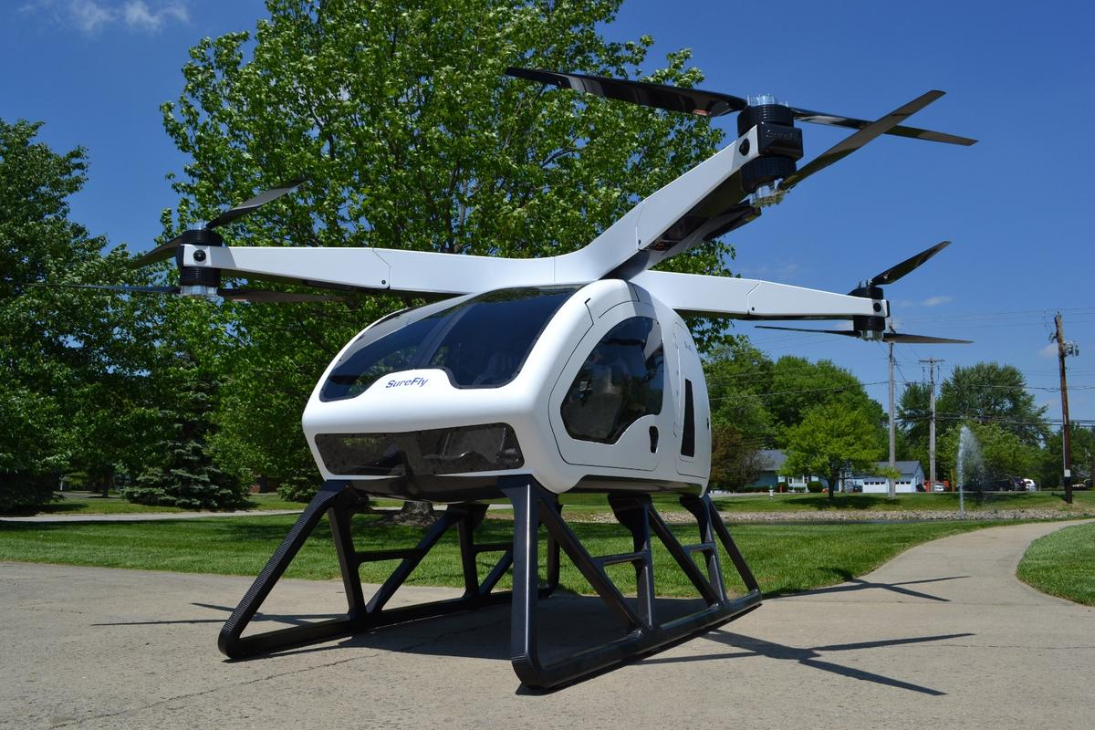 The Surefly passenger drone is designed to use a mix of diesel and electricity to cover a range of approximately 70 mi ( 112 km)
