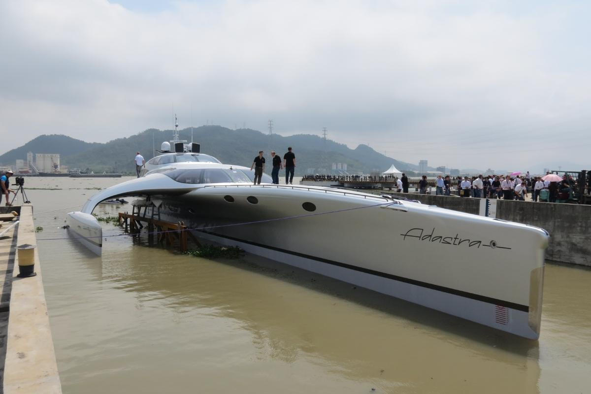 The $15 million Adastra luxury trimaran was launched yesterday in China