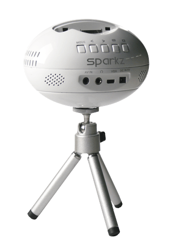 The sparkz uses a 3M LcoS projection engine to throw a 640 x 480 image at a brightness of 15 lumens