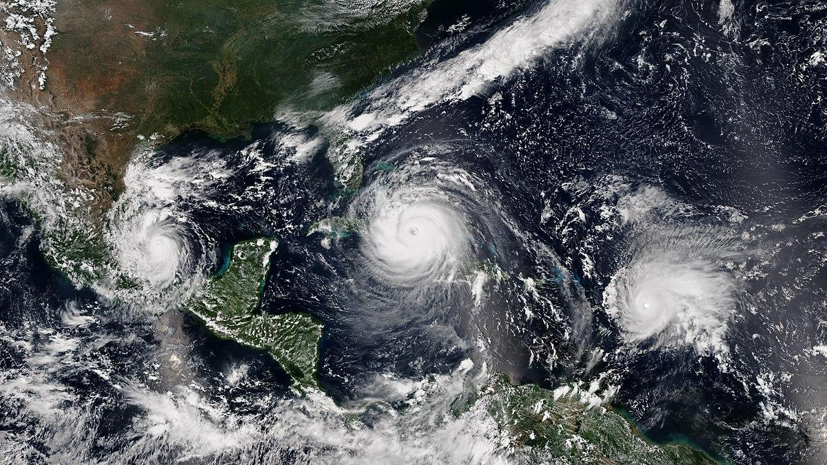 Left to right:hurricanes Katia, Irma and Jose of 2017
