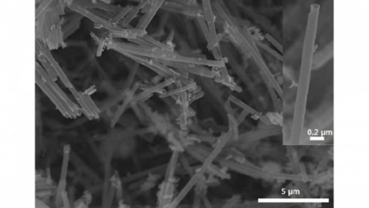 Silicon nanotubes after ultrasonic treatment - inset is an expanded image of a single nanotube