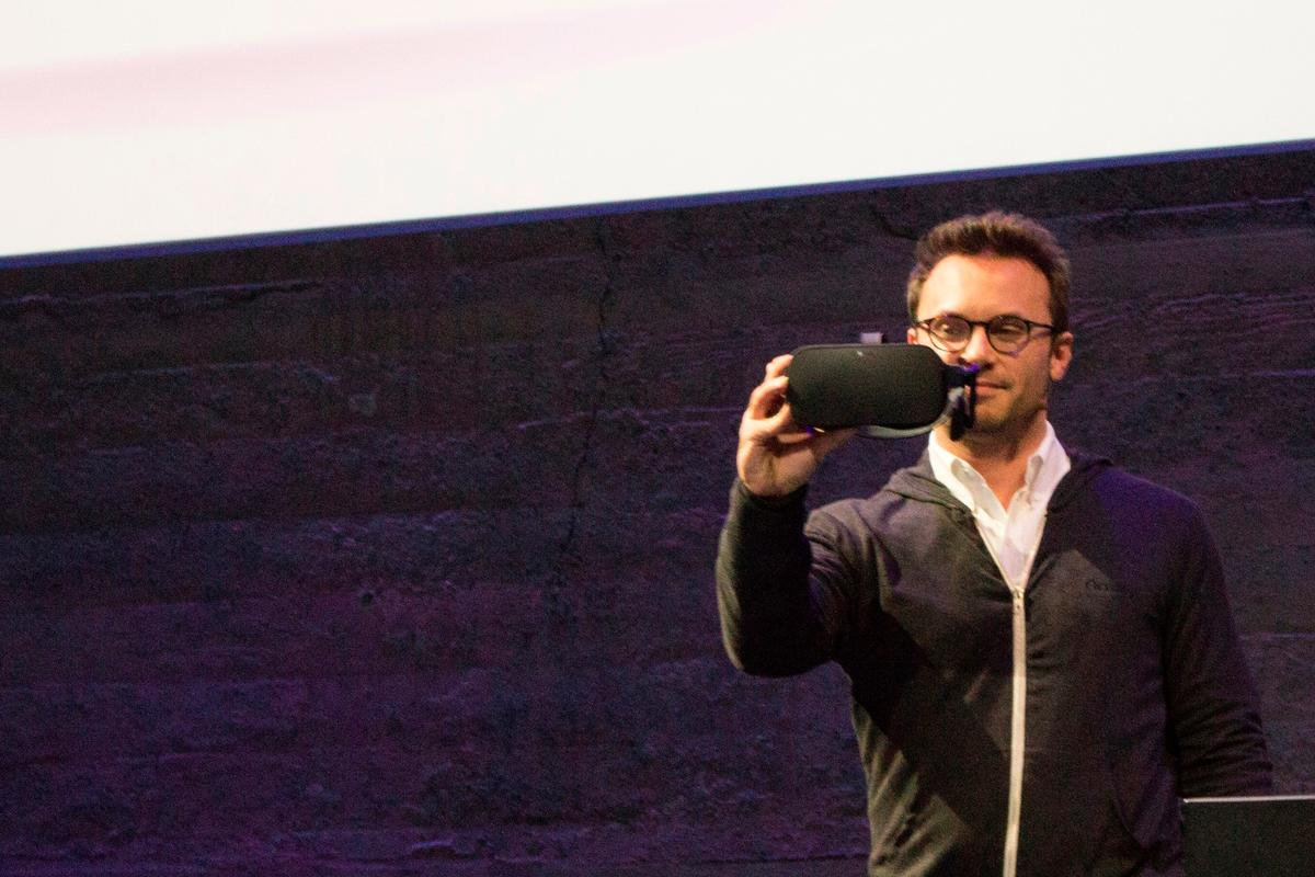 Oculus VR's CEO Brendan Iribe shows off the consumer-ready Oculus Rift headset