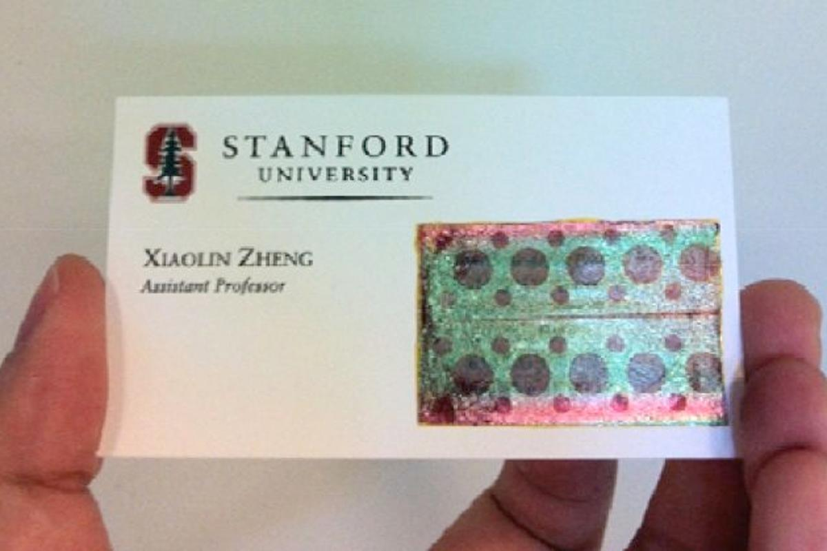 One of the decal-like solar panels, applied to a business card