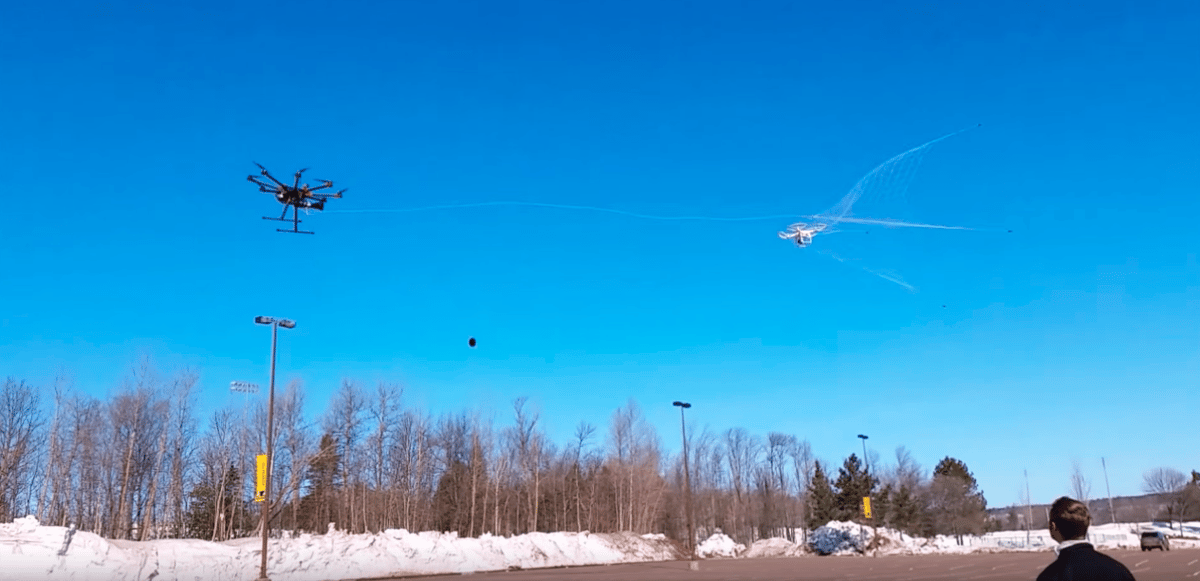 When it spots an illegal aircraft, the predator drone fires a net from as far as 40 ft (12 m) in its direction