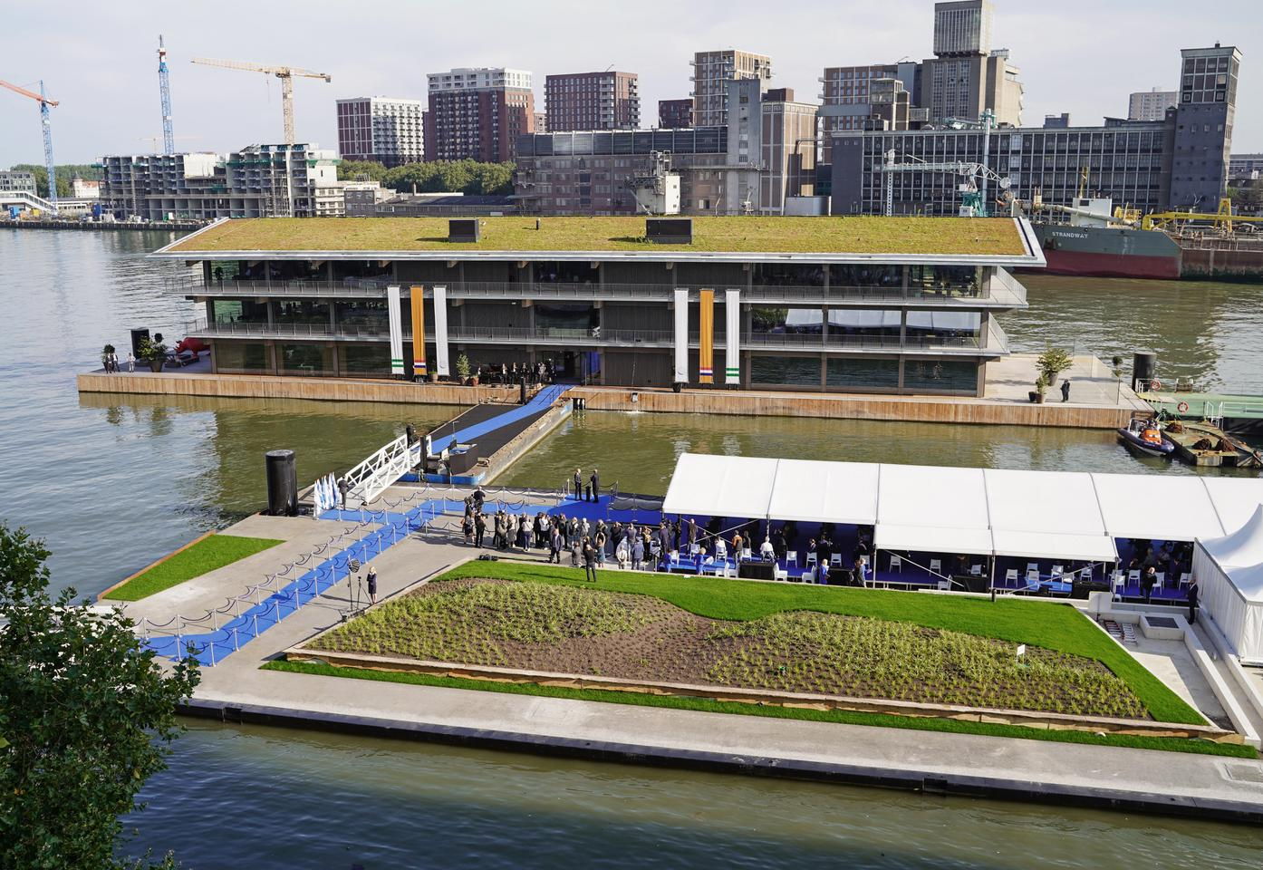 FOR is located in Rotterdam, the Netherlands, and is part of an ongoing redevelopment of the Rijnhaven harbor
