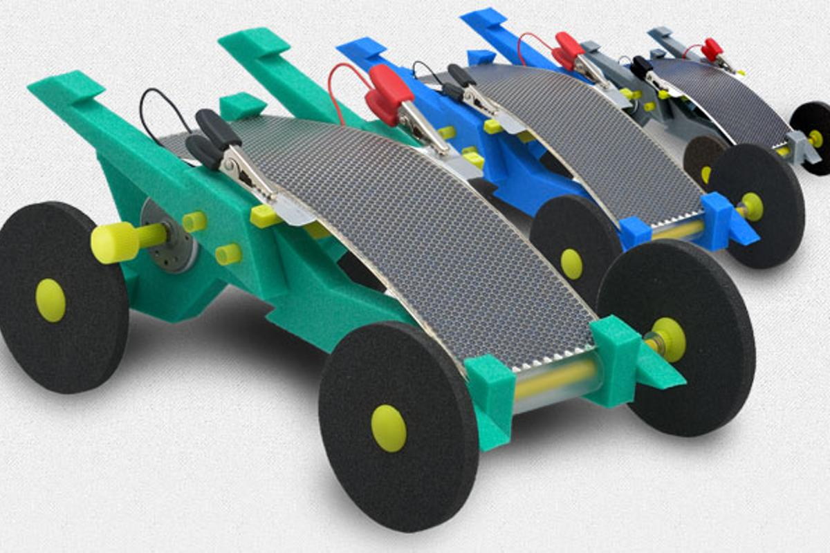 The Volta Racer is powered by a flexible polycrystalline silicon solar panel