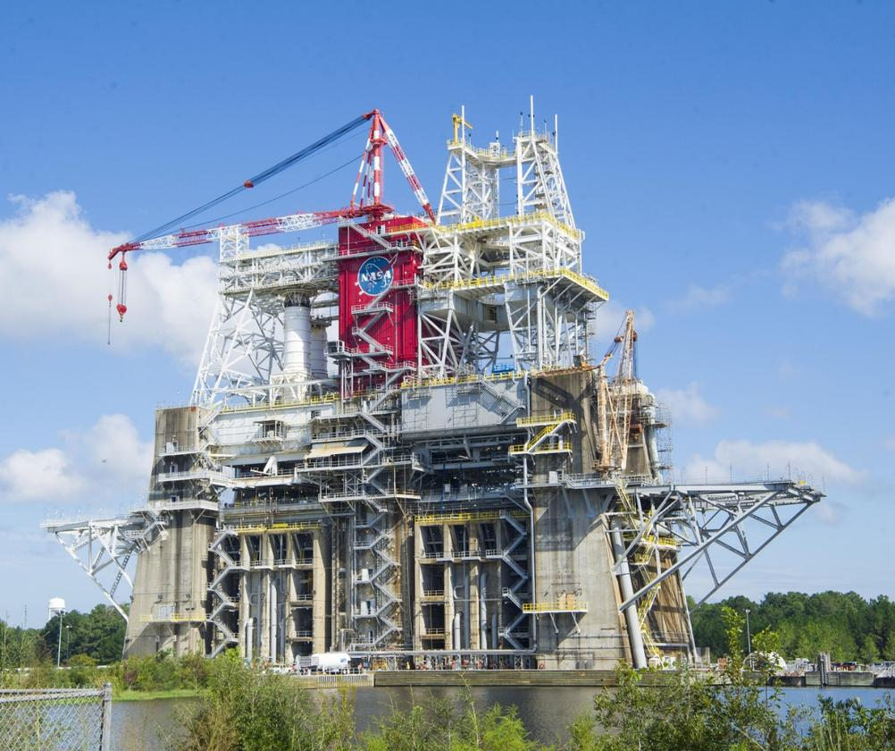 """The """"Green Run"""" test of the core stage for NASA's Space Launch System (SLS) will be conducted at the B-2 Test Stand at NASA's Stennis Space Flight Center near Bay St. Louis, Mississipp"""