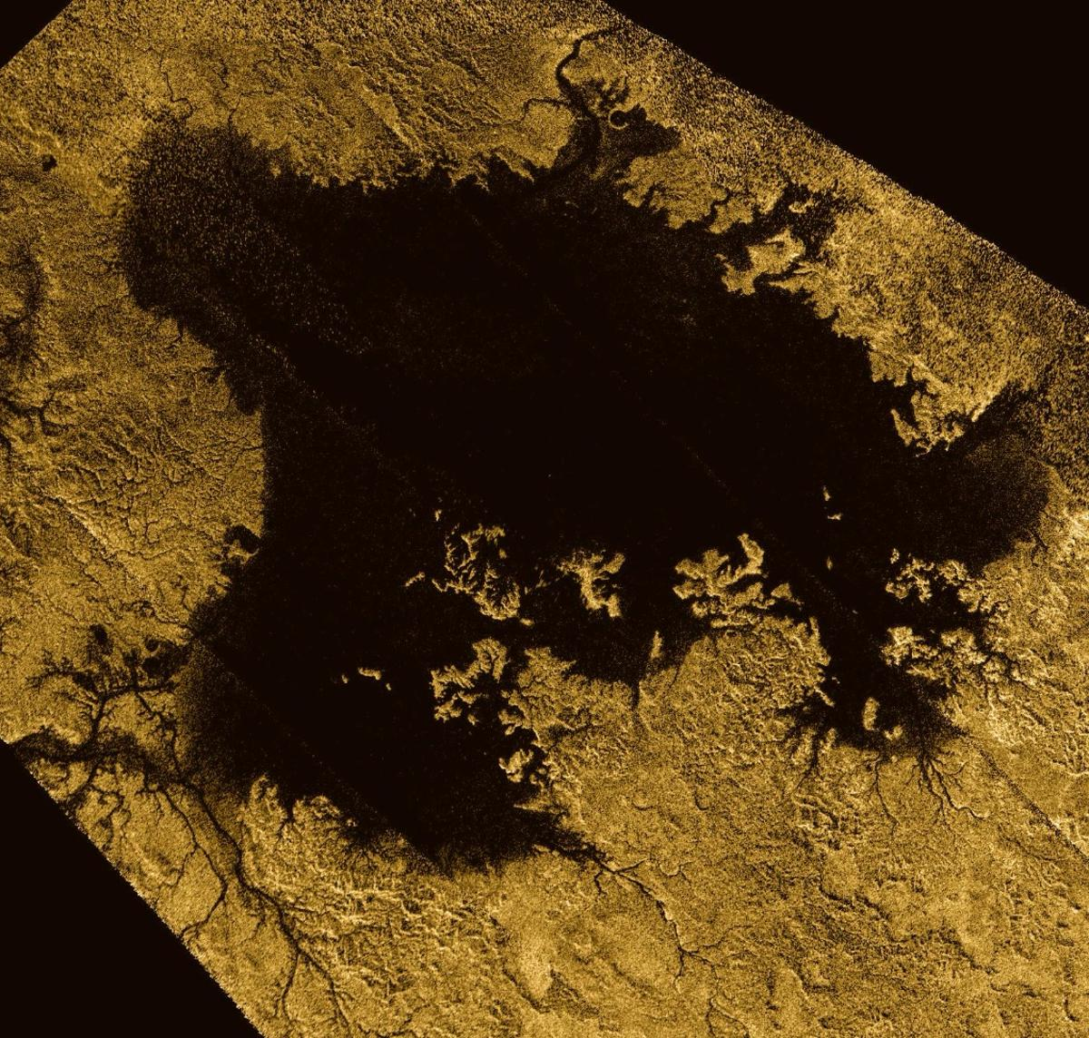 Cassini image of Ligeia Mare – the second largest hydrocarbon sea present on the surface of Titan