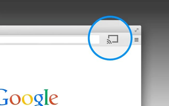 With the Google Cast extension installed for Chrome, any browser window can be streamed to the Chromecast by clicking the Cast button (circled)