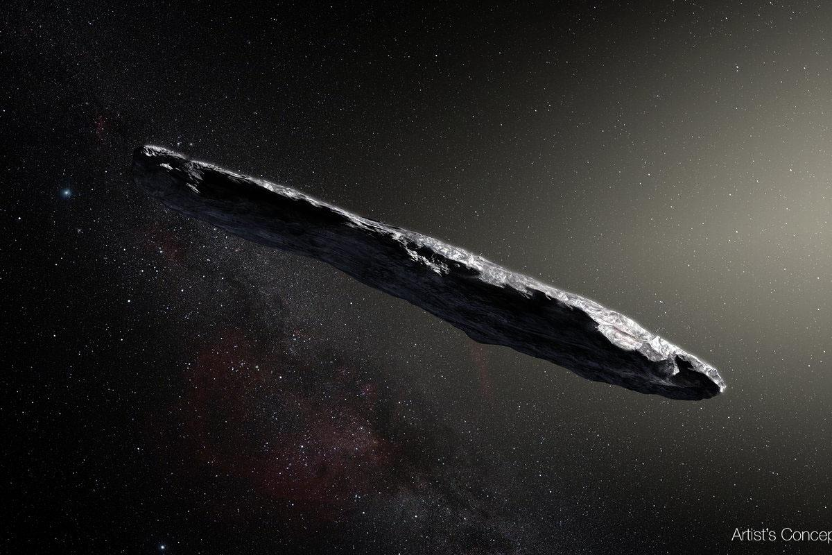Artist's impression of the asteroid 'Oumuamua, also known as A/2017 U1