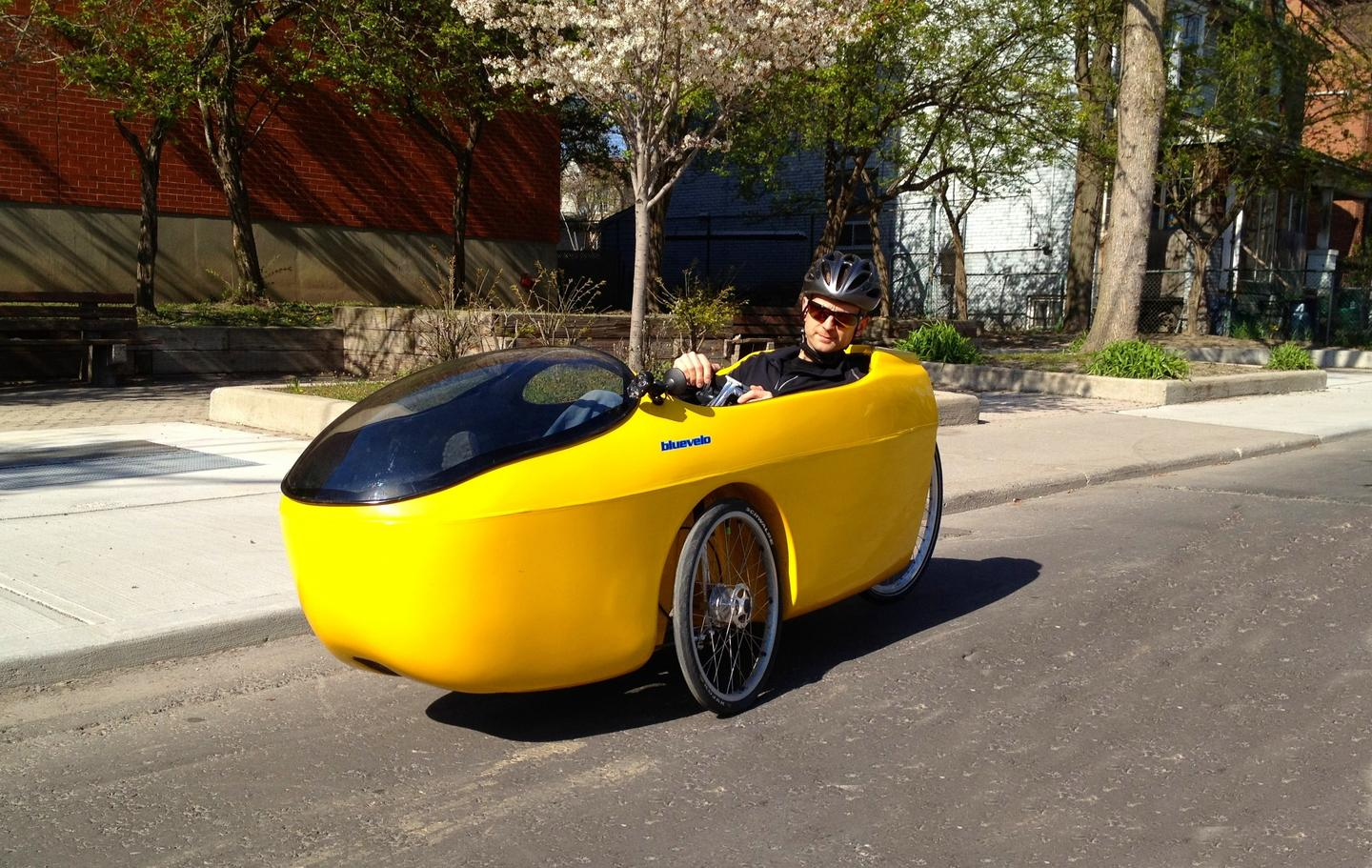 The Hornet is a new velomobile that is designed around an included electric-assist motor