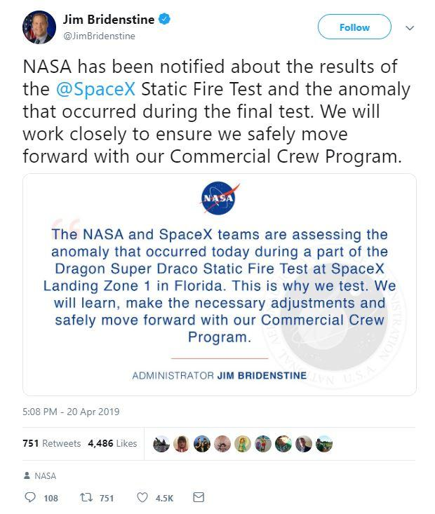 Twitter statement by NASA administrator Jim Bridenstine