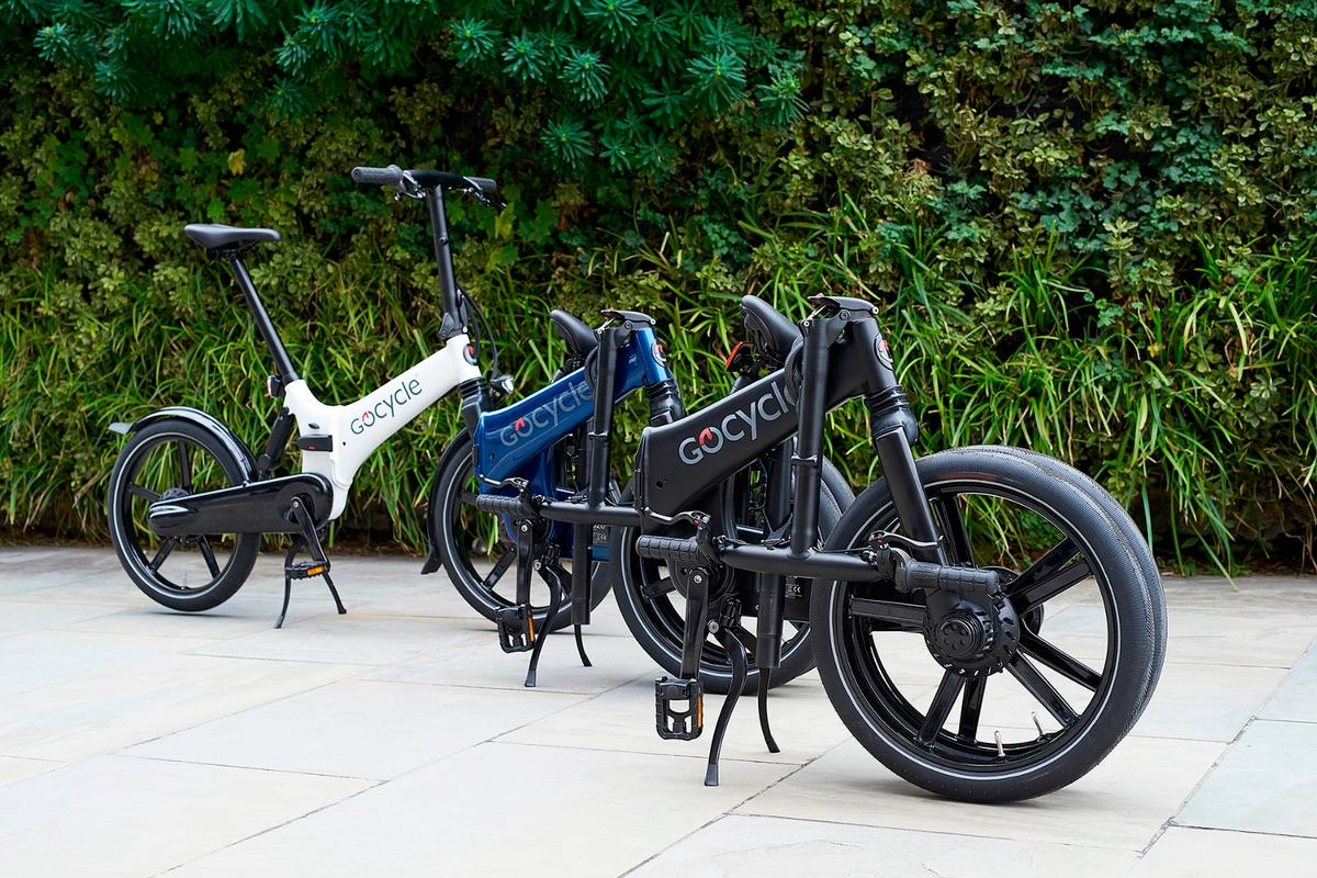 The Gocycle GX, in its folded and ready-to-ride states