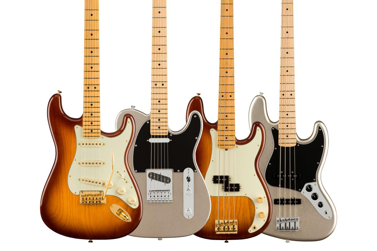 Fender has released Platinum and Diamond edition guitars and basses to celebrate its 75th anniversary