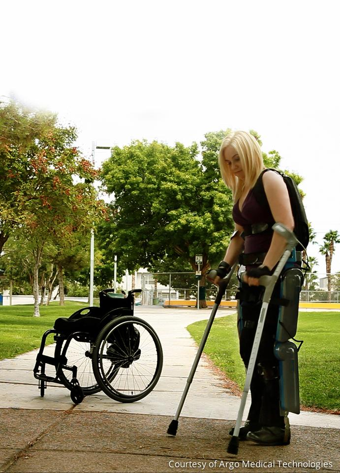 ReWalk enables paraplegics to sit, stand, walk and even climb stairs with a little motorized help