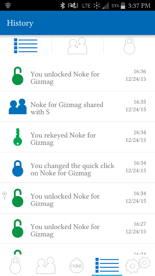 Noke's mobile app provides a history of actions complete with date/time stamps