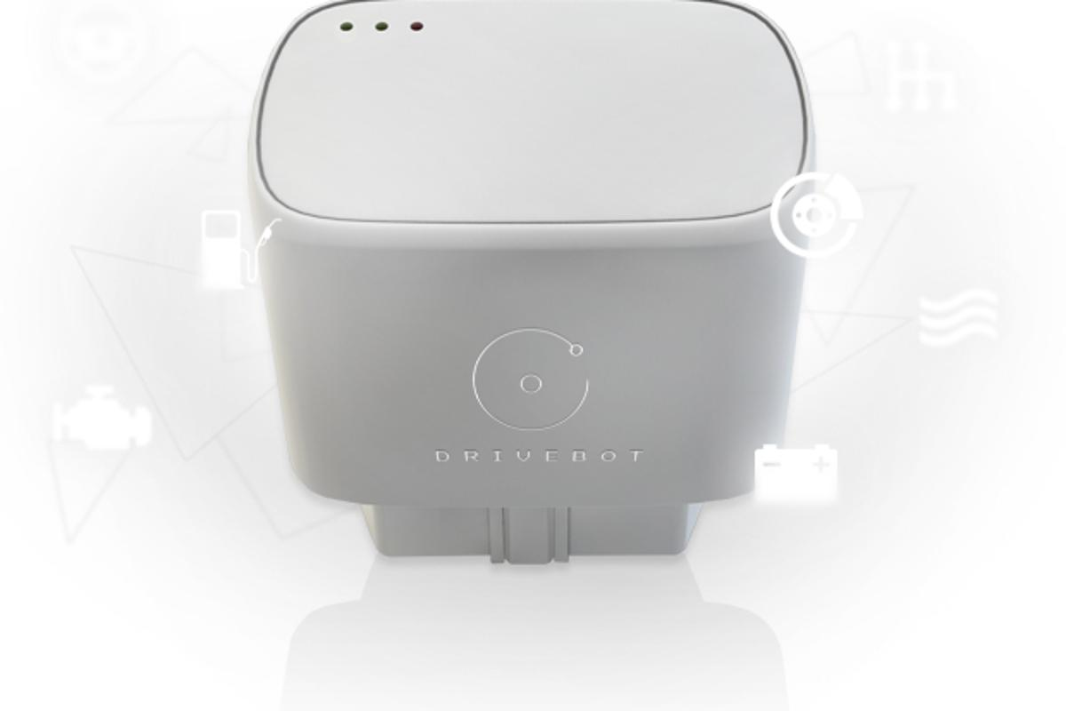 The Drivebot is a simple dongle device that plugs into the car's On Board Diagnostic (OBD-II) port