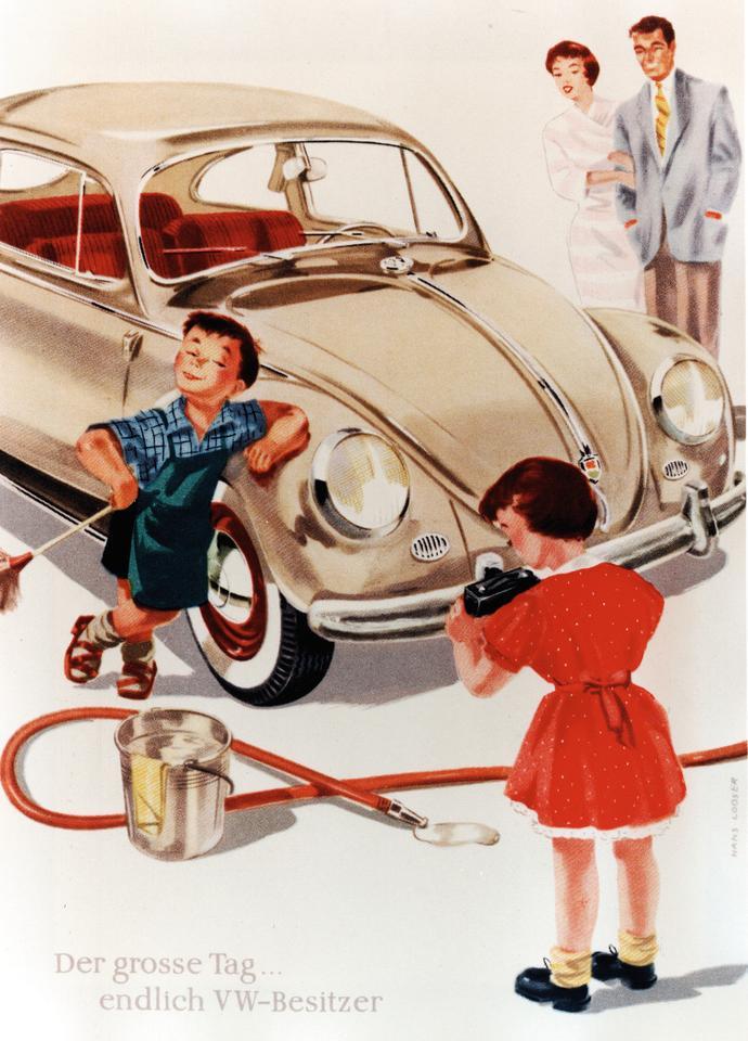 Реклама конца 1950-х: великий день ... наконец-то стал владельцем VW