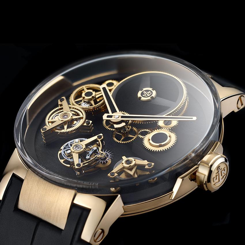 The Ulysses Nardin Executive Tourbillon Free Wheel has a movement where the components seem to operate without touching one another