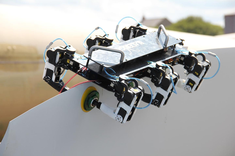 The BladeBUG robot crawls across turbine blades using its vacuum-padded feet