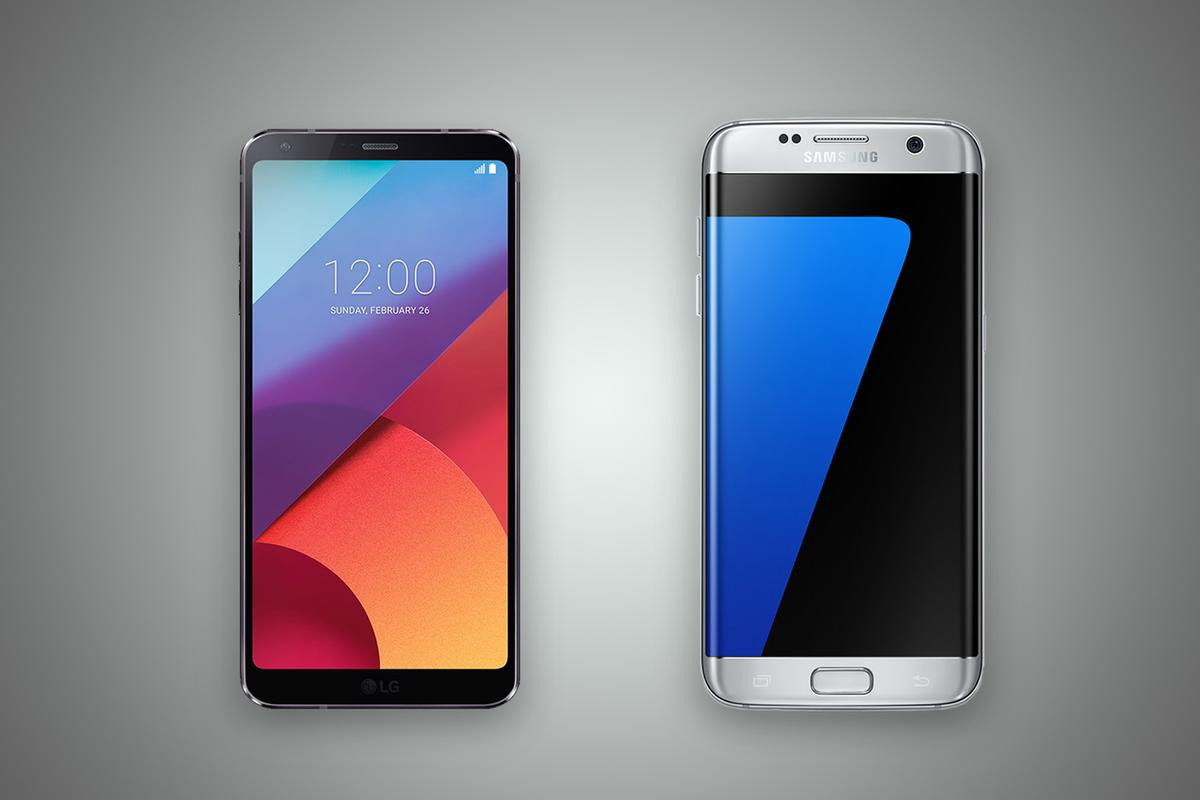 New Atlas compares the features and specs of the LGG6 (left) and Samsung Galaxy S7 edge