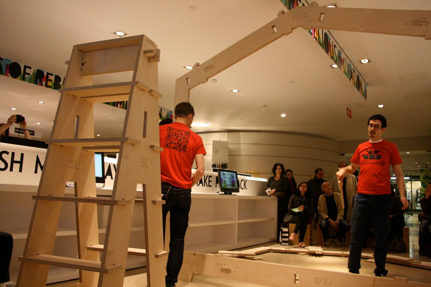 The WikiHouse construction system is based on the use of plywood fins that connect together to form a robust timber frame structure (Photo: Bridget Borgobello/Gizmag)