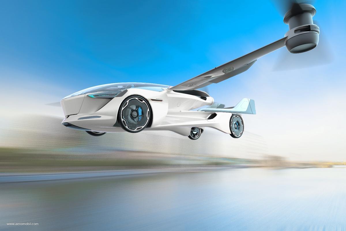 An illustration of the AeroMobil 5.0 VTOLin flight