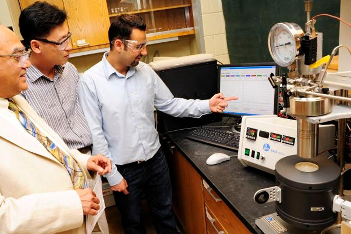 Members of Purdue University's hydrothermolysis research team (Prof. Varma at left)