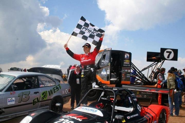 Fumio Nutahara celebrates his record at the 2012 Pikes Peak International Hill Climb