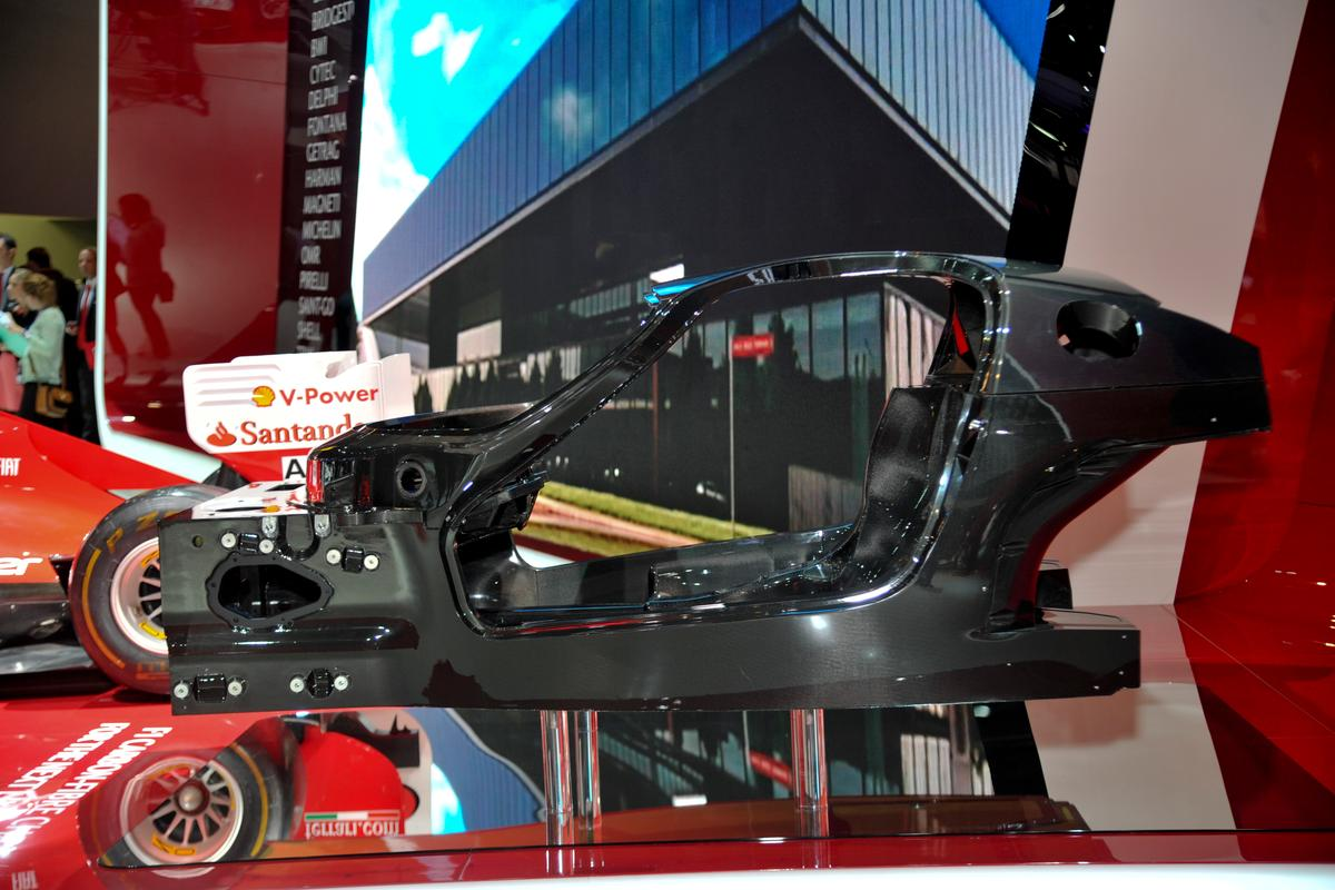 The composite chassis for Ferrari's first hybrid vehicle
