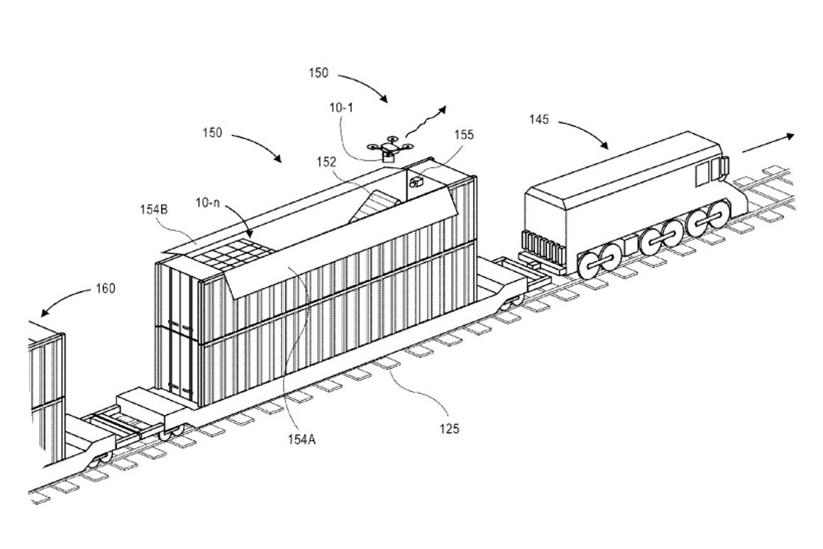 Amazon has been awarded a patent for drone maintenance facilities that could be carried around on trains