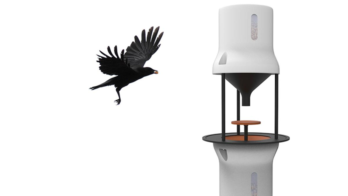 Dutch startupCrowded Citiesis developing a device called a Crowbar, which it hopes will teach crows to collect cigarette butts