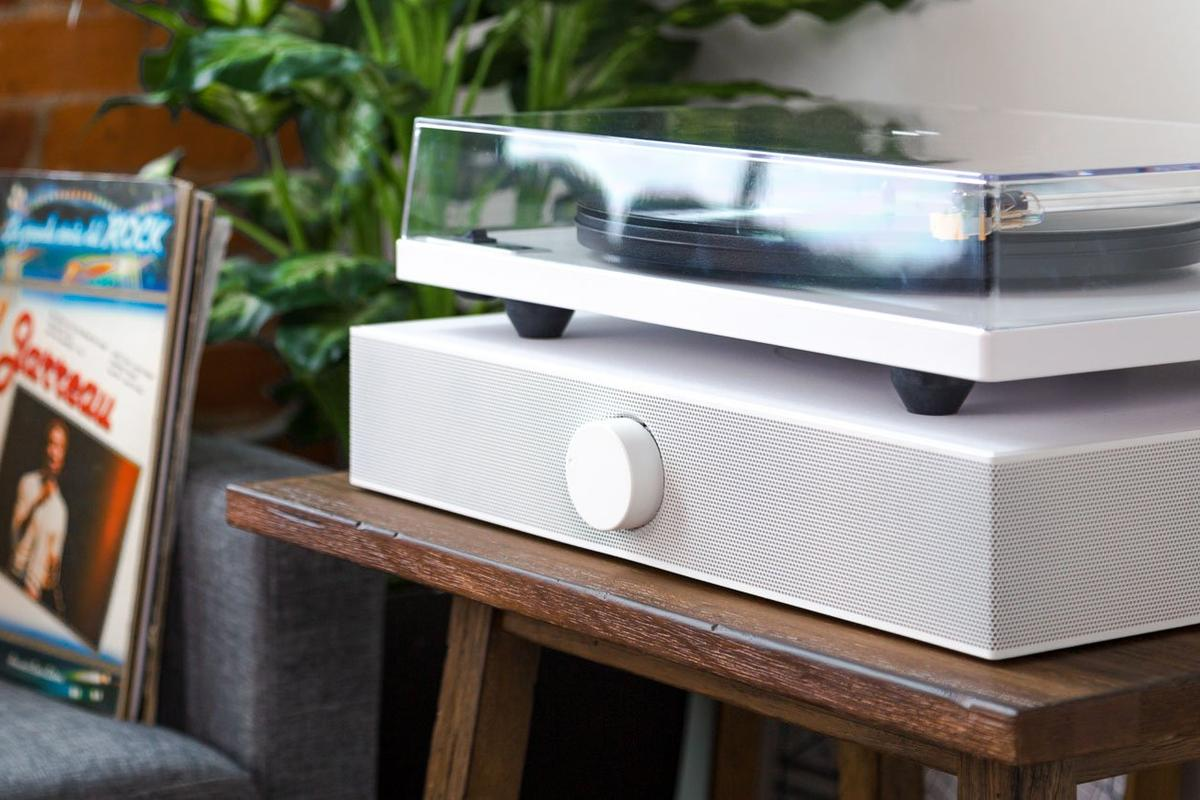 The Spinbase compact powered speaker system for turntables is currently raising production funds on Kickstarter