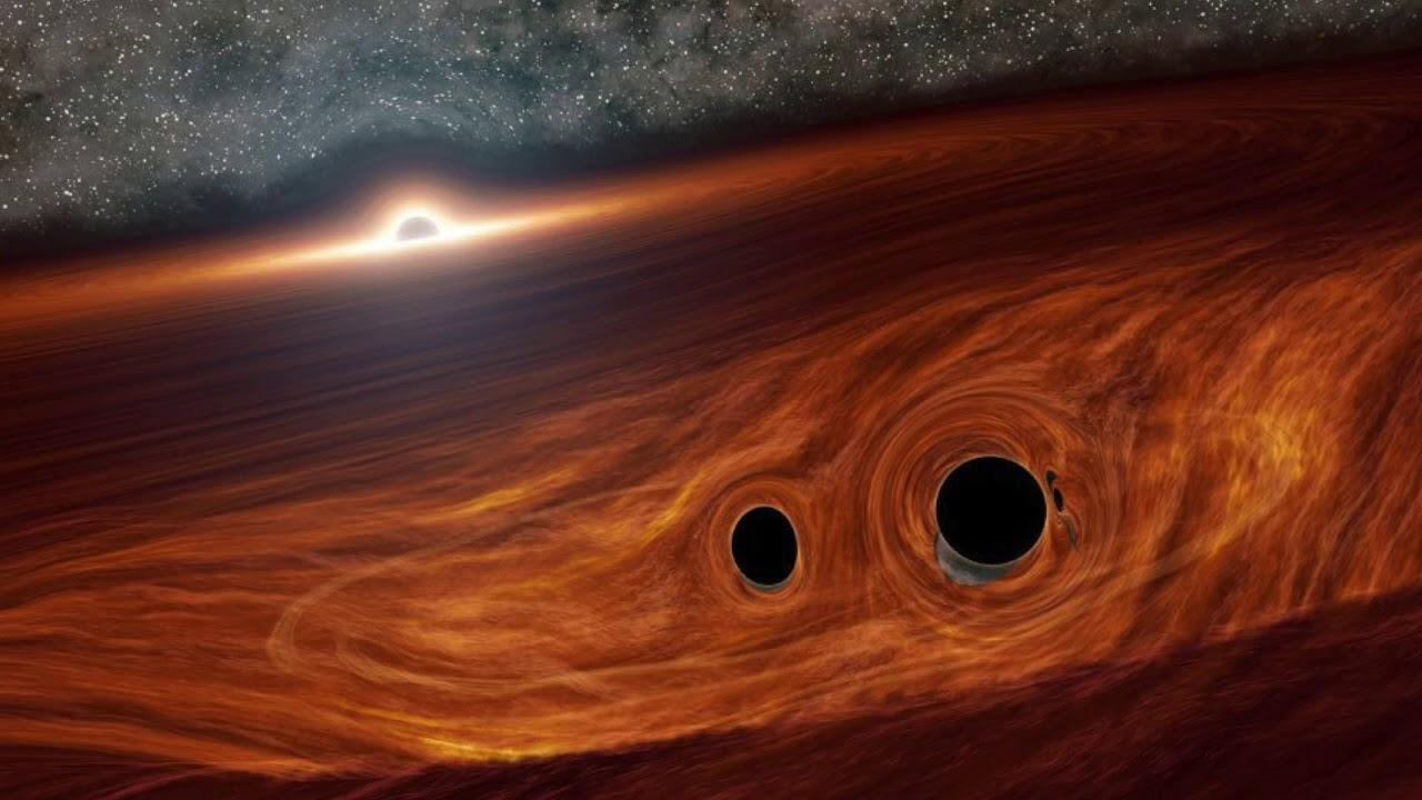 An artist's imagining of the two black holes about to merge, located inside the debris disk of a supermassive black hole