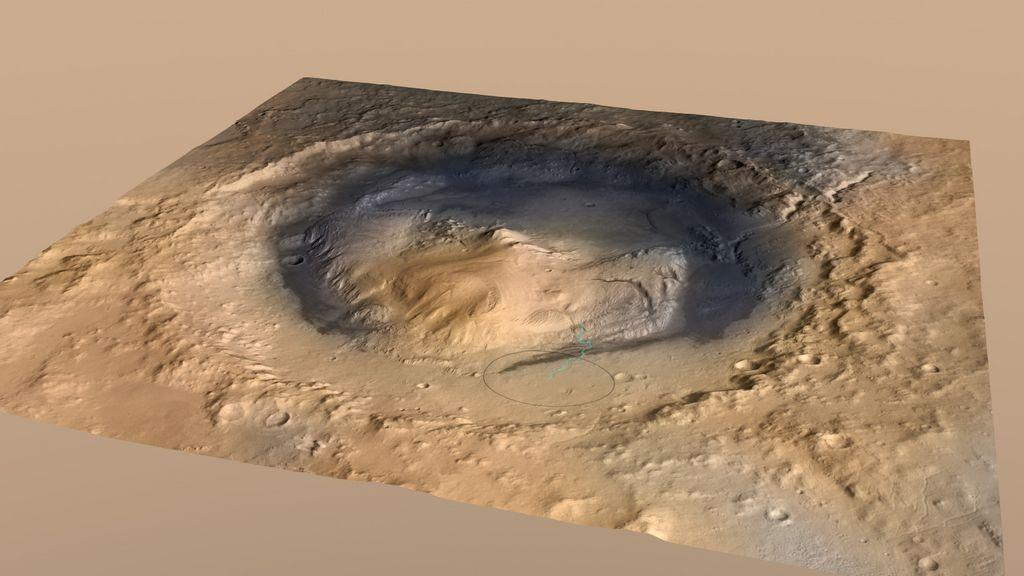 Gale Crater, Mars, with landing target for the Curiosity marked by an ellipse, near Mount Sharp