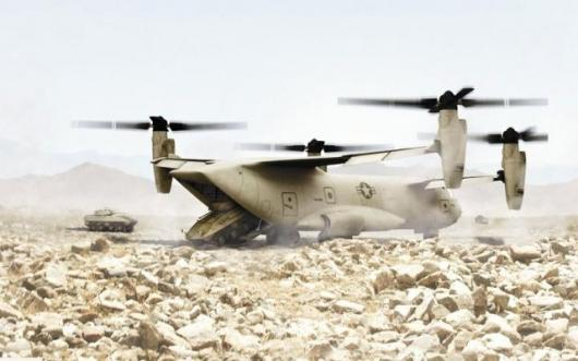 An artists impression of the Quad Tiltrotor delivering Strykers into the desert
