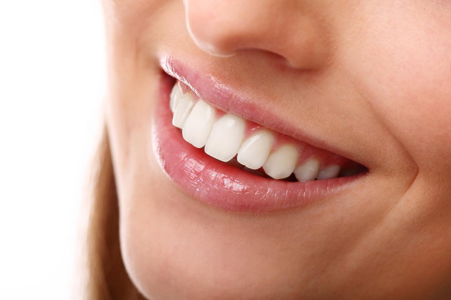 Titanium dioxide nanoparticles have been shown to whiten teeth less harmfully than commonly-used hydrogen peroxide gel