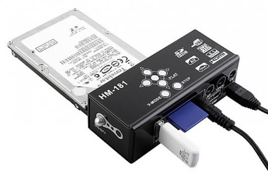 The Brando SATA HDD Multi-Media Player Adapter works with SATA hard drives, SDHC cards, and USB storage devices