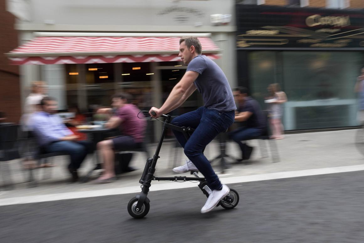The A-Bike Electric in action – look at those li'l wheels go!