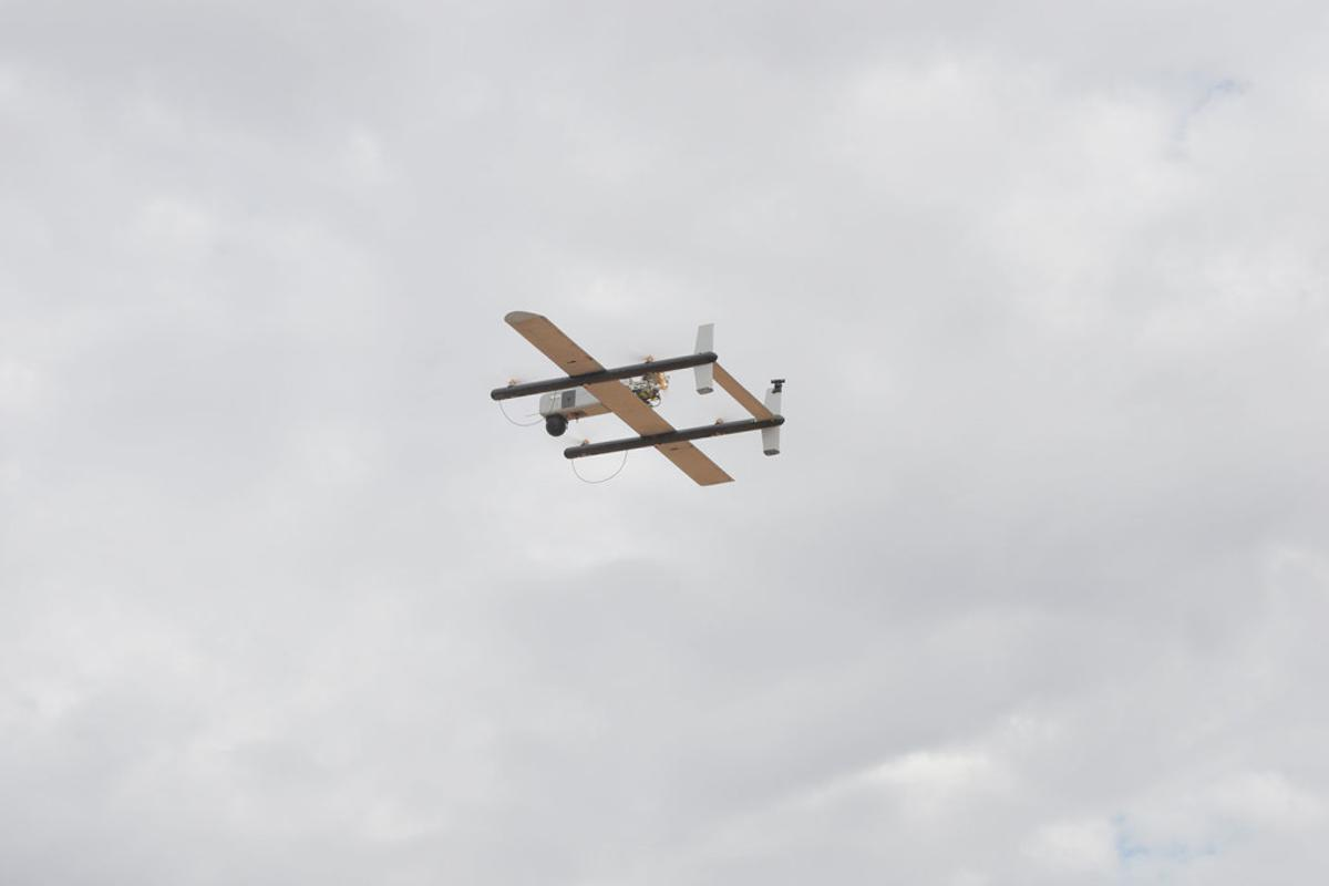 A HQ-40 UAV, like the one pictured,has flown 97 miles (156 km) to deliver a package, setting a new record for the longest drone delivery in the US