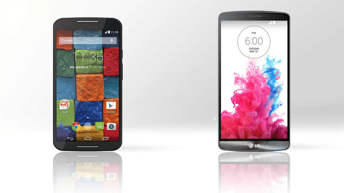 The refreshed Moto X (left) and LG G3 (right)