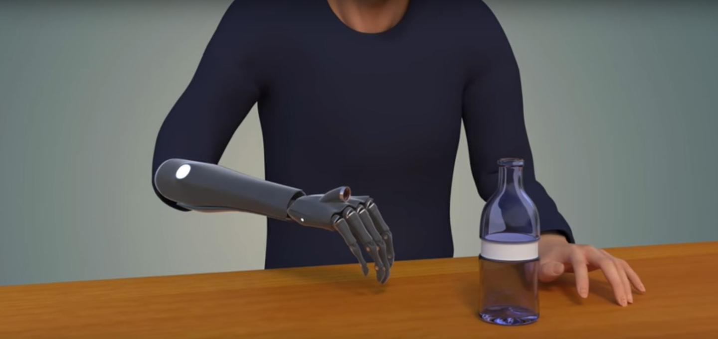 Computer rendering of how a future bionic hand with embedded camera could look