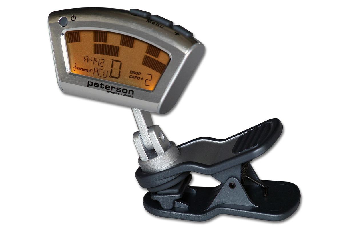 Made to withstand use on the road while being instrument-finish friendly, the StroboClip tuner from Peterson